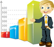 Businessman with bar graph Royalty Free Stock Photo