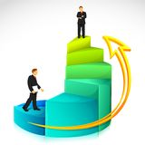 Businessman on Bar Graph. Illustration of businessman standing on bar graph on abstract background Stock Images