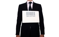 Businessman with barcode, isolated on white Royalty Free Stock Images