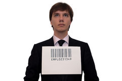 Businessman with barcode, isolated on white Stock Images