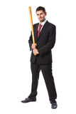 Businessman and baseball bat Royalty Free Stock Images
