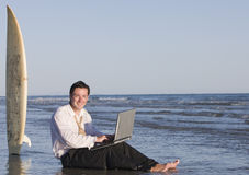 Businessman at Beach Royalty Free Stock Photo