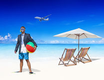 Businessman by the Beach Getting Away From it All Stock Images
