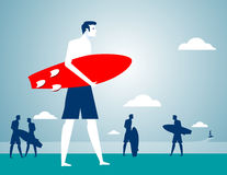 Businessman beach holiday. Concept business illustration. Vector flat Stock Photo