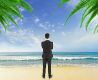 Businessman  on beach Stock Photography
