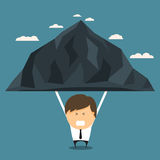 Businessman bear the mountains alone. Concept of bear the burden alone. Vector illustration Stock Photo