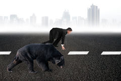Businessman and bear are ready to race on asphalt road stock images