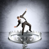Businessman in bear trap Royalty Free Stock Images