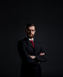 Businessman with beard. Black background with copyspace. Business and office concept Royalty Free Stock Image