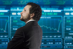 Businessman with beard and black suit Royalty Free Stock Photography