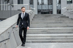 Businessman with beard . Full length of cheerful young men in fo Stock Image