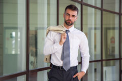 Businessman with beard is wearing shirt and tie Stock Images