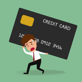 Businessman bearing credit card , Debt concept vector illustration