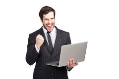 Businessman beeing a winner Royalty Free Stock Photos