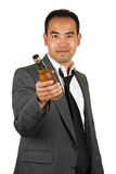 Businessman with Beer Bottle Stock Image