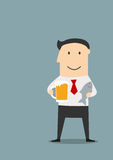 Businessman with beer and dried fish. Cheerful smiling businessman relaxing after hard day with mug of beer and dried salted fish. Cartoon flat style Stock Images
