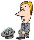 Businessman beggar cartoon Stock Photography