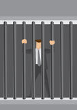 Businessman Behind Bars Vector Cartoon Illustration. Cartoon businessman character locked behind bars as prisoner. Creative vector illustration related to white Stock Photos