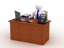 Businessman behind a desktop. Isolated 3D image Stock Images