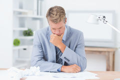 Businessman being depressed by working Stock Images