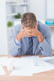 Businessman being depressed by working Royalty Free Stock Images