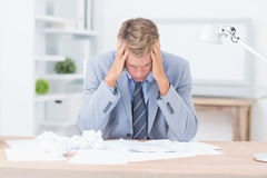 Businessman being depressed by working Stock Photos