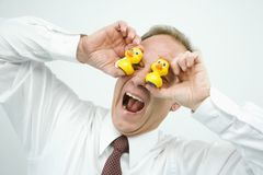 Businessman being funny Royalty Free Stock Photography