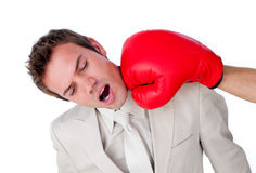 Businessman being hit with a boxing glove. Close-up of a businessman being hit with a boxing glove isolated on a white background Royalty Free Stock Images