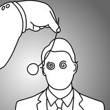 Businessman being hypnotized with coin vector illustration. Doodle sketch hand drawn with black lines isolated on gray background. Business concept stock illustration