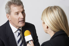 Businessman Being Interviewed By Female Journalist With Micropho Stock Photos