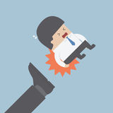 Businessman being kicked out. VECTOR, EPS10 stock illustration