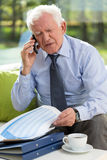 Businessman being on the phone Stock Photos