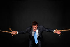Businessman being pulled by rope on both sides. Royalty Free Stock Image