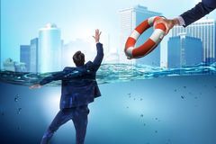 The businessman being saved from drowning. Businessman being saved from drowning stock illustration