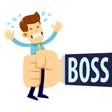 Businessman Being Squeezed By Boss Big Hand royalty free illustration