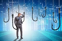 The businessman being tempted to bite the bait. Businessman being tempted to bite the bait stock illustration