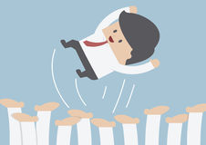 Businessman being throwing up by his team, Success concept. VECTOR, EPS10 stock illustration