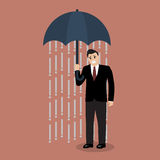 Businessman being wet from raining instead he holding umbrella Royalty Free Stock Image