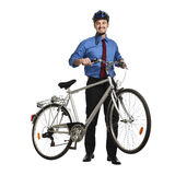 Businessman and bicycle Stock Photography