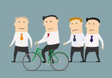 Businessman on bicycle overtaking a colleagues Royalty Free Stock Image