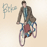 Businessman on Bicycle retro style pop art Royalty Free Stock Image