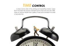 Businessman on big clock. Running businessman and big clock,miniature man on the clock time control royalty free stock image