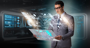 The businessman in big data management concept. Businessman in big data management concept royalty free stock photo