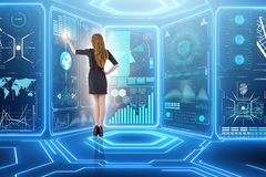 The businessman in big data management concept Stock Photography
