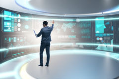 The businessman in big data management concept Stock Images