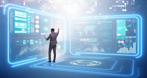 The businessman in big data management concept. Businessman in big data management concept Stock Photography