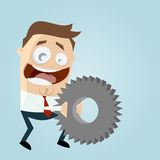 Businessman with big gear. Illustration of businessman with big gear Royalty Free Stock Photo