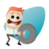 Businessman with big gear. Illustration of a businessman with big gear Stock Image