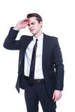 Businessman with a big headache Royalty Free Stock Photos