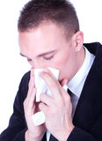 Businessman with a big influenza hold handkerchief. Sneeze... Businessman with a big influenza hold handkerchief Royalty Free Stock Images